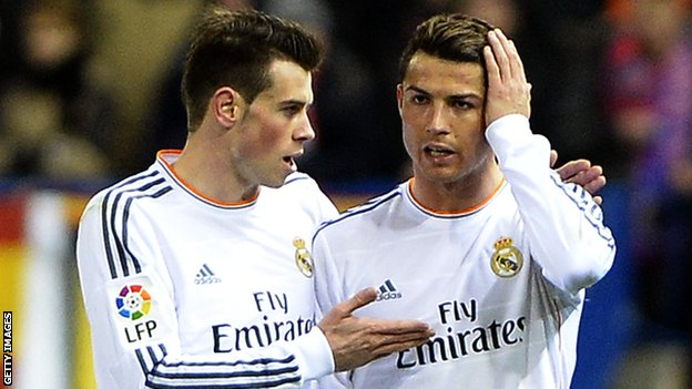 Real Madrid player Cristiano Ronaldo with team-mate Gareth Bale during the Copa del Rey tie with Atletico Madrid