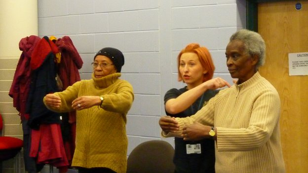 Kasia instructs Yvonne Messam and Ruby Reid