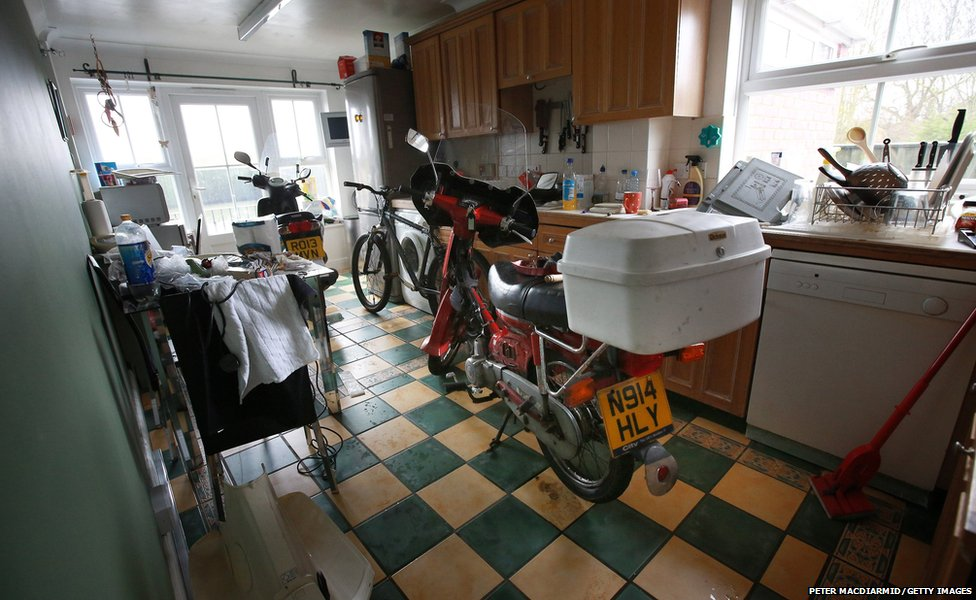 One household's bikes brought inside to dry