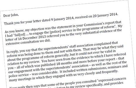 Excerpt from Tom Winsor's letter dated 14 February