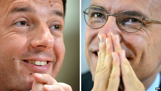 Italian Democratic Party leader Matteo Renzi (L) and former PM Enrico Letta, 13 February 2014