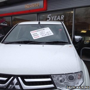 Car with funny notice. Pic: David Watkins.