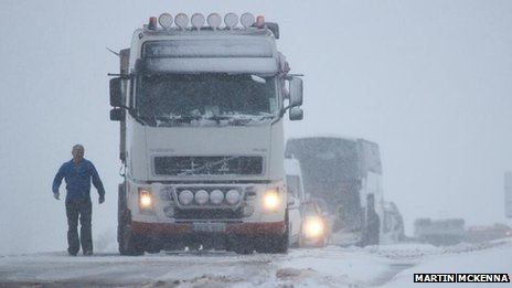 The Glenshane Pass in County Londonderry is passable with extreme care