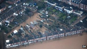 Flooded houses aerial