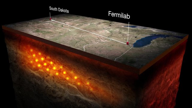 Illustration of how the neutrinos would travel underground