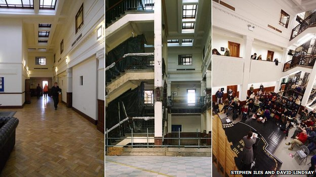 Pictures of the centre's atrium - before, during and after renovation - courtesy of The Tetley