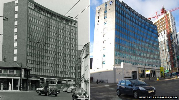 Tyne brewery offices circa 1967 and the Sandman Hotel 2014