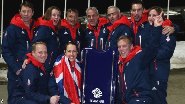 Lizzy Yarnold and her team of coaches