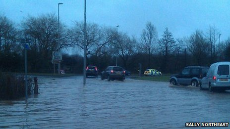 Flooding at Bakers Arms roundabout on the A35