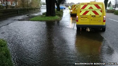 Flooding at the Winston Road and West Way junction in Bournemouth