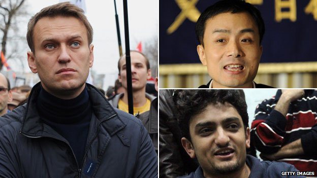 Russia's Aleksei Navalny, China's Michael Anti and Wael Ghonim, who has helped Egyptian protestors