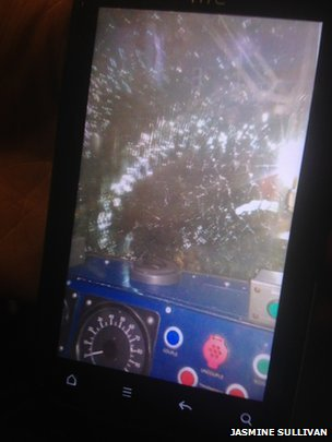 Broken train window. Pic: Jasmine Sullivan