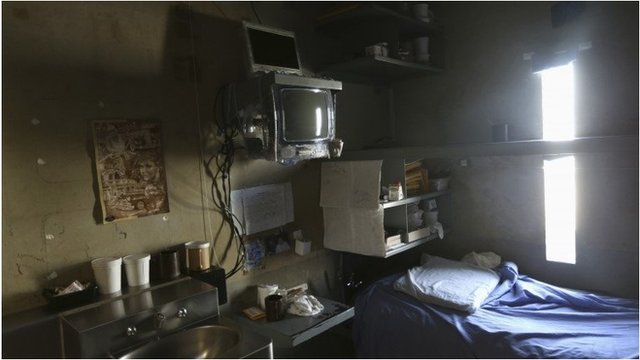 A prison cell is shown in the Secure Housing Unit (SHU) at the Corcoran State Prison, California 1 October 2013