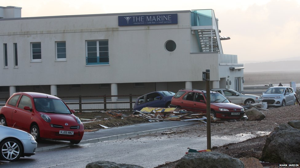 Windows at the Marine Restaurant were smashed by shingle picked up by fierce winds in the town of Milford on Sea on Friday night.