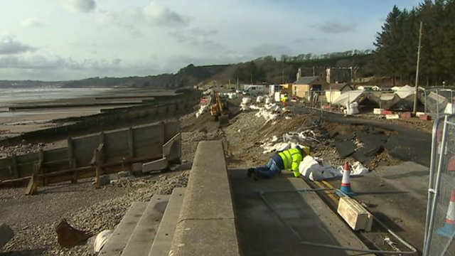 Storm damage in Amroth