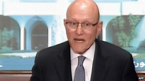 PM Tammam Salam announcing the formation of the new government on Lebanese TV.