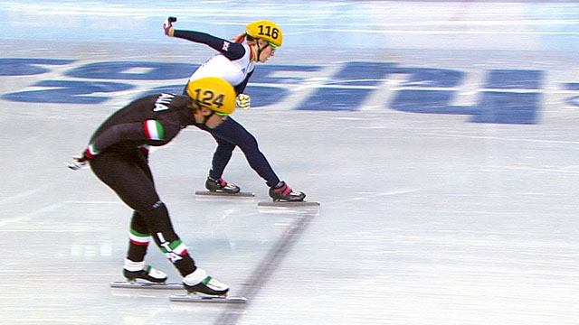 Britain's Elise Christie crossing the finish line