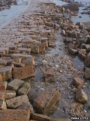 Damage to the causeway at St Michael's Mount, Cornwall, 15 Feb 2014