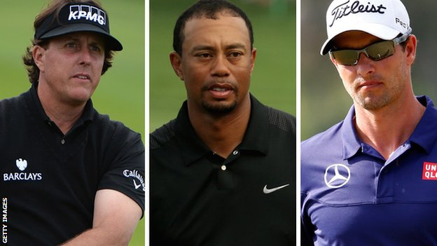 (left to right) Phil Mickelson, Tiger Woods and Adam Scott