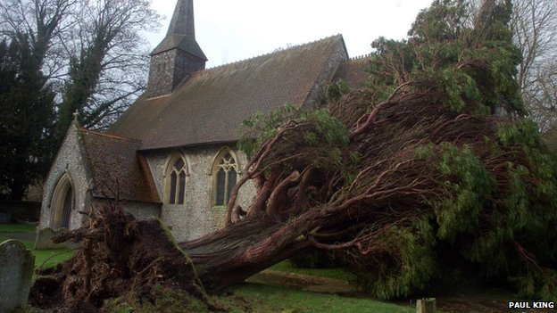 In Basingstoke a tree has fallen on the roof of St Thomas of Canterbury Church and opened up graves.