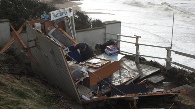 Storm demolished Lyme Bay National Coastwatch Institution's lookout