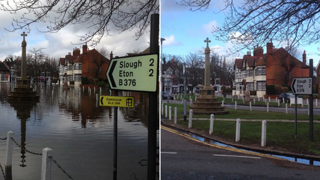 Datchet flooding before and after