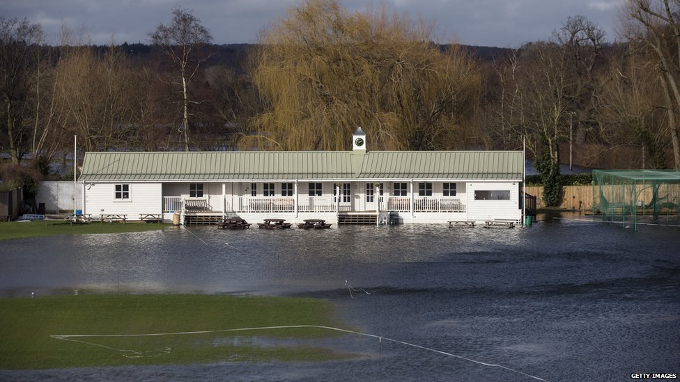 The flooded pitch of Henley Cricket Club