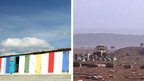 Library image shows beach huts at Milford on Sea, and image from Saturday 15 January shows debris left behind