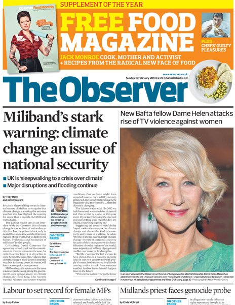 Observer front page - 16/02/14