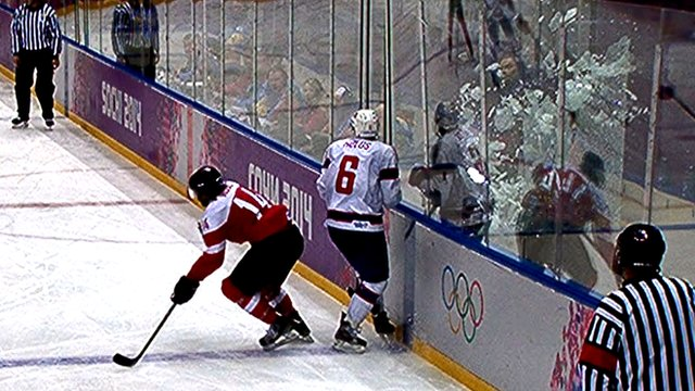 Glass smashed in ice hockey match
