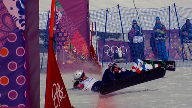 Women's snowboard cross semi-final photo finish