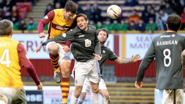 John Sutton powers in a header to make it 3-3 at Fir Park
