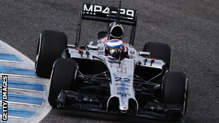 JEREZ DE LA FRONTERA, SPAIN - JANUARY 29: Jenson Button of Great Britain and McLaren drives the new MP4-29 during day two of Formula One Winter Testing at the Circuito de Jerez on January 29, 2014.