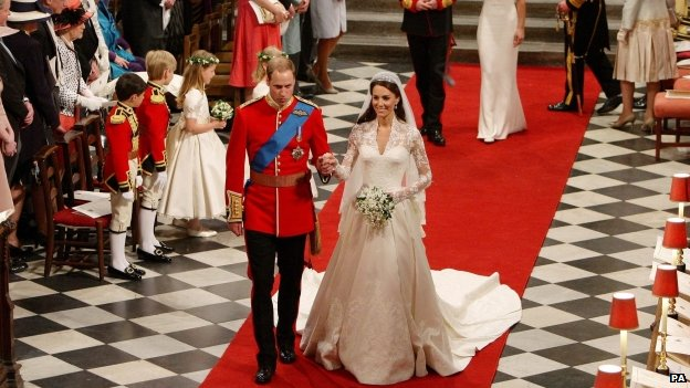 Duke and Duchess of Cambridge in Westminster Abbey on their wedding day
