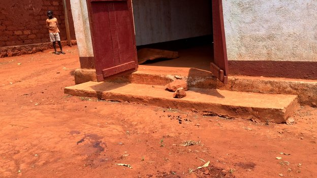 Blood stains in front of the mosque door