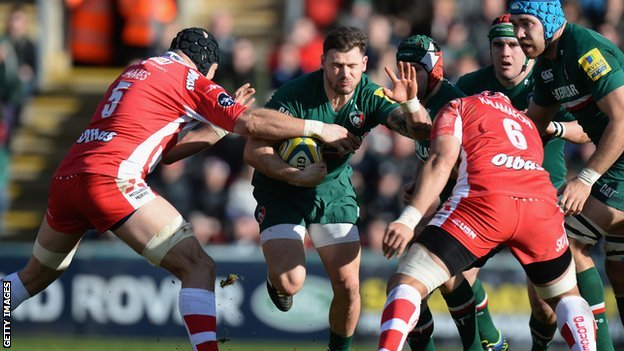 Leicester's Adam Thompstone takes on Gloucester