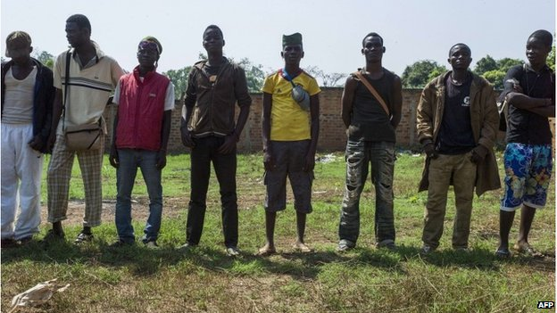 """Christian vigilantes known as """"anti-balaka"""" wait for the start of a meeting in the Boy-Rabe neighbourhood of Bangui, Central African Republic, on 15  February."""