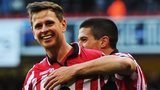 Sheffield United's Chris Porter (left0 celebrates as he helps his side to beat Nottingham Forest in the FA Cup