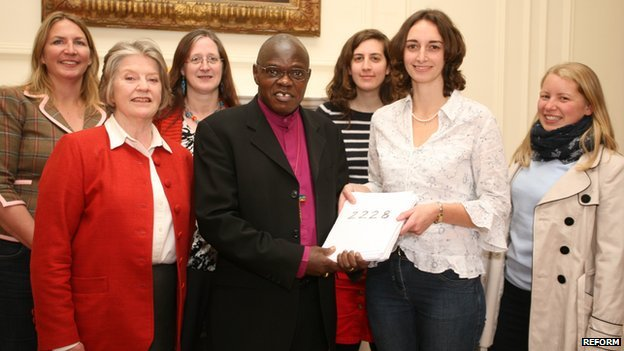 Women from Reform presenting petition to the Archbishop of York