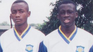 Yaya Toure (r) with Salomon Kalou during his time with ASEC Mimosas