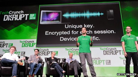 Slick Login team presenting the tech at TechCrunch Disrupt