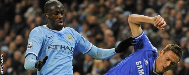 Yaya Toure and Chelsea's Nemanja Matic
