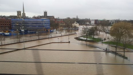 View from the railway bridge in Worcester