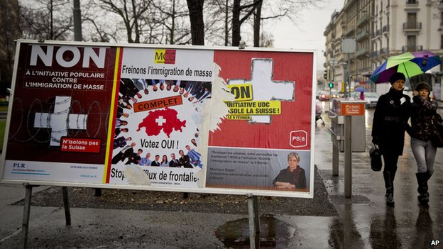 Swiss referendum campaign posters in Geneva, 10 Feb 14