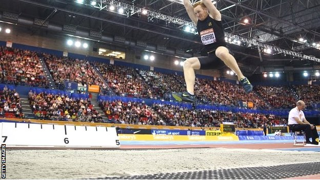Greg Rutherford in action at the Indoor Grand Prix in Birmingham last weekend