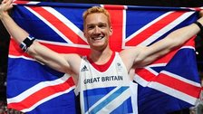 Great Britain's Olympic long jump champion Greg Rutherford