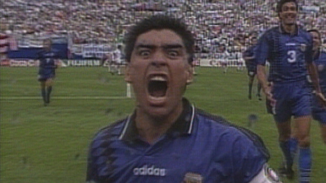 Diego Maradona scores against Greece