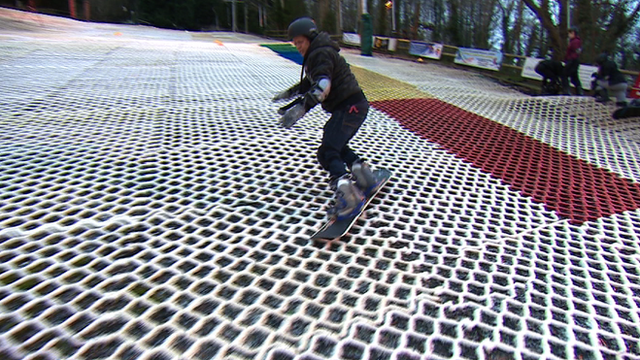 Mike Bushell tries snowboarding at the centre where Jenny Jones started her career.