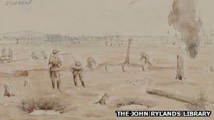 Sketch of soldiers near Ypres, 1917
