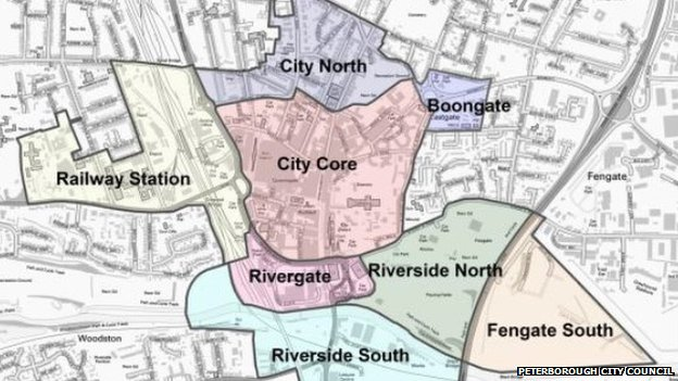 Map of areas for regeneration, Peterborough
